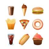 Ícones lisos do menu do fast food ajustados Fotos de Stock
