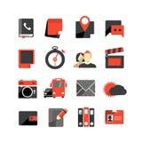 Ícones lisos do monochrome do projeto Fotografia de Stock