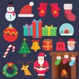 Ícones lisos do Natal Fotos de Stock Royalty Free