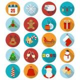 Ícones lisos do Natal ajustados Imagem de Stock Royalty Free