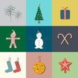 9 ícones lisos do Natal Ilustração do vetor Foto de Stock