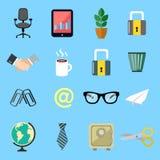 Ícones lisos do negócio ajustados Imagens de Stock Royalty Free