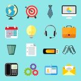 Ícones lisos do negócio ajustados Imagens de Stock