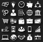 Ícones lisos do negócio e da finança Grupo do vetor Fotos de Stock Royalty Free