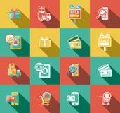 Ícones lisos do negócio e das vendas ajustados Imagens de Stock Royalty Free