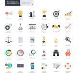 Ícones lisos do negócio e do mercado do projeto para desenhistas do gráfico e da Web