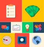 Ícones lisos do negócio para infographic Vetor Fotografia de Stock