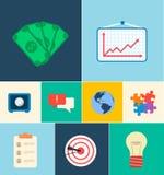 Ícones lisos do negócio para infographic Vetor Imagens de Stock