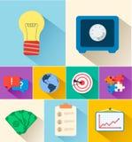 Ícones lisos do negócio para infographic Vetor Imagem de Stock Royalty Free