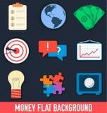 Ícones lisos do negócio para infographic Vetor Imagens de Stock Royalty Free