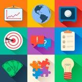 Ícones lisos do negócio para infographic Vetor Imagem de Stock