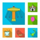 Ícones lisos do parque de diversões na coleção do grupo para o projeto O equipamento e as atrações vector a ilustração conservada ilustração royalty free