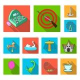 Ícones lisos do parque de diversões na coleção do grupo para o projeto O equipamento e as atrações vector a ilustração conservada ilustração stock