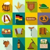 Ícones lisos do partido de Oktoberfest ilustração stock