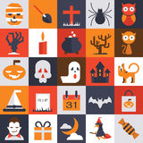 Ícones lisos do projeto de Dia das Bruxas ajustados ilustração royalty free