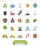 Ícones lisos do projeto do ambiente e do clima ajustados Foto de Stock Royalty Free