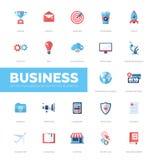 Ícones lisos do projeto do infographics do negócio, grupo de elementos da Web Imagens de Stock Royalty Free