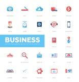 Ícones lisos do projeto do infographics do negócio, grupo de elementos da Web Fotos de Stock