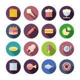Ícones lisos do projeto para o alimento Fotografia de Stock Royalty Free