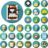 Ícones lisos do projeto para o café da manhã Imagem de Stock Royalty Free