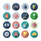 Ícones lisos do projeto para o esporte e a aptidão Imagem de Stock Royalty Free