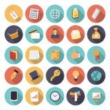 Ícones lisos do projeto para o negócio e a finança Imagens de Stock