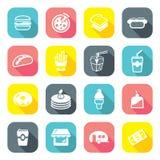 Ícones lisos do restaurante do fast food do projeto Imagens de Stock