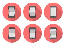 Ícones lisos do smartphone da curva Fotografia de Stock