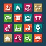 Ícones lisos do sucesso comercial ajustados Imagens de Stock Royalty Free