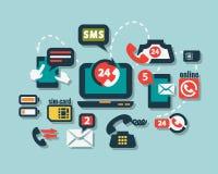 Ícones lisos do telefone ajustados Imagem de Stock