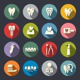 Ícones lisos do tema dental ilustração royalty free