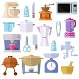 Ícones lisos do tema dos utensílios da cozinha no fundo branco Fotografia de Stock
