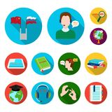 Ícones lisos do tradutor e do linguista na coleção do grupo para o projeto Ilustração da Web do estoque do símbolo do vetor do in ilustração royalty free