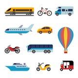 Ícones lisos do transporte da cor Fotos de Stock