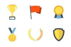 Ícones lisos do troféu e das concessões Imagens de Stock