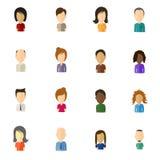 Ícones lisos do usuário de Minimalistic com grande cabeça - grupo 2 Foto de Stock
