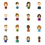Ícones lisos do usuário de Minimalistic com grande cabeça - grupo 1 ilustração stock