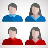 Ícones lisos do usuário masculino e fêmea fotos de stock royalty free