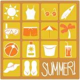 Ícones lisos do verão Fotografia de Stock