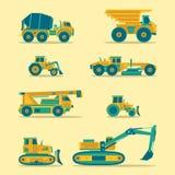 Ícones lisos do vetor ajustados de veículos da construção Sinais da engenharia da estrada Símbolos da maquinaria industrial ilustração royalty free