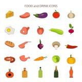 Ícones lisos do vetor do alimento e da bebida ajustados ilustração stock