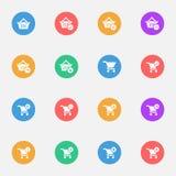 Ícones lisos do vetor do carrinho de compras no grupo da carcaça da cor de 16 ilustração stock
