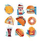 Ícones lisos do vetor com fast food e bebidas Sanduíche, café, Hamburger, pizza, tacos, filhós, soda, cachorro quente e francês Imagem de Stock Royalty Free