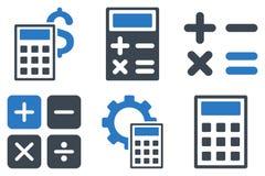 Ícones lisos do vetor da calculadora Imagens de Stock