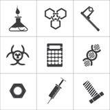 9 ícones lisos do vetor da ciência ilustração stock