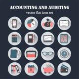 Ícones lisos do vetor da contabilidade Fotografia de Stock