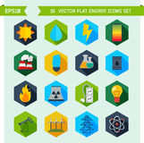 Ícones lisos do vetor da ecologia e da energia Fotografia de Stock Royalty Free