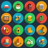 Ícones lisos do vetor da higiene e do saneamento ajustados ilustração stock