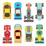 Ícones lisos do vetor da opinião superior dos carros de corridas do esporte ilustração royalty free