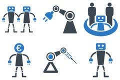 Ícones lisos do vetor da robótica Fotos de Stock